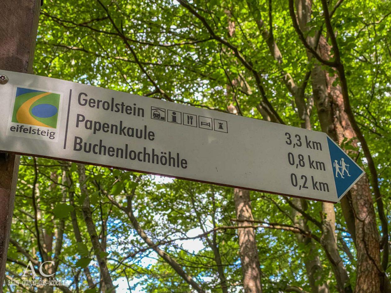 Wandern in der Vulkaneifel Gerolsteiner Felsenpfad Wegweiser